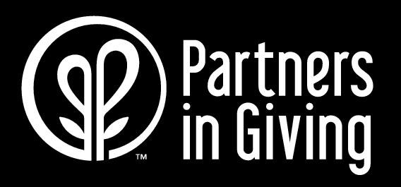 Partners in Giving Logo black background white text